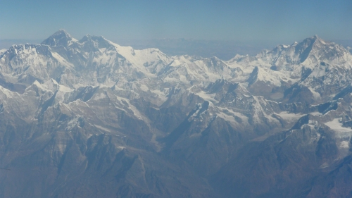 Everest on the far left, Nuptse on the right.