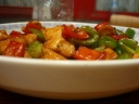 Canton-style stir fried chicken with mixed vegetables
